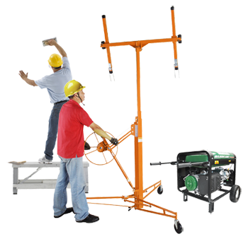 Pentagon Tools Drywall Hoists, Sheetrock Lifts, Drywall Benches and Carts, and Premium Quality Genterators.